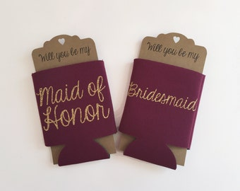 Bridesmaid Proposal Can Cooler Burgundy Maroon | Will you be my Maid of Honor Bridesmaid | Bridal Party