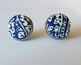 Navy blue and white fabric button stud earrings