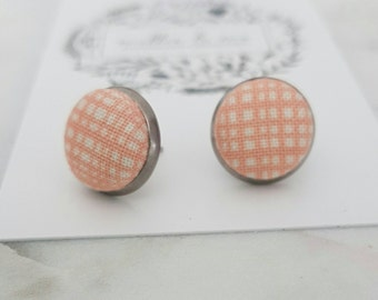 Peach and cream checked  fabric stud earrings