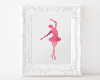 Pink Ballerina  - DIGITAL DOWNLOAD Print, 8x10, Nursery Print, Girls Room Art, Kids Digital Download, Kids Room decor, Pink Ballet 1