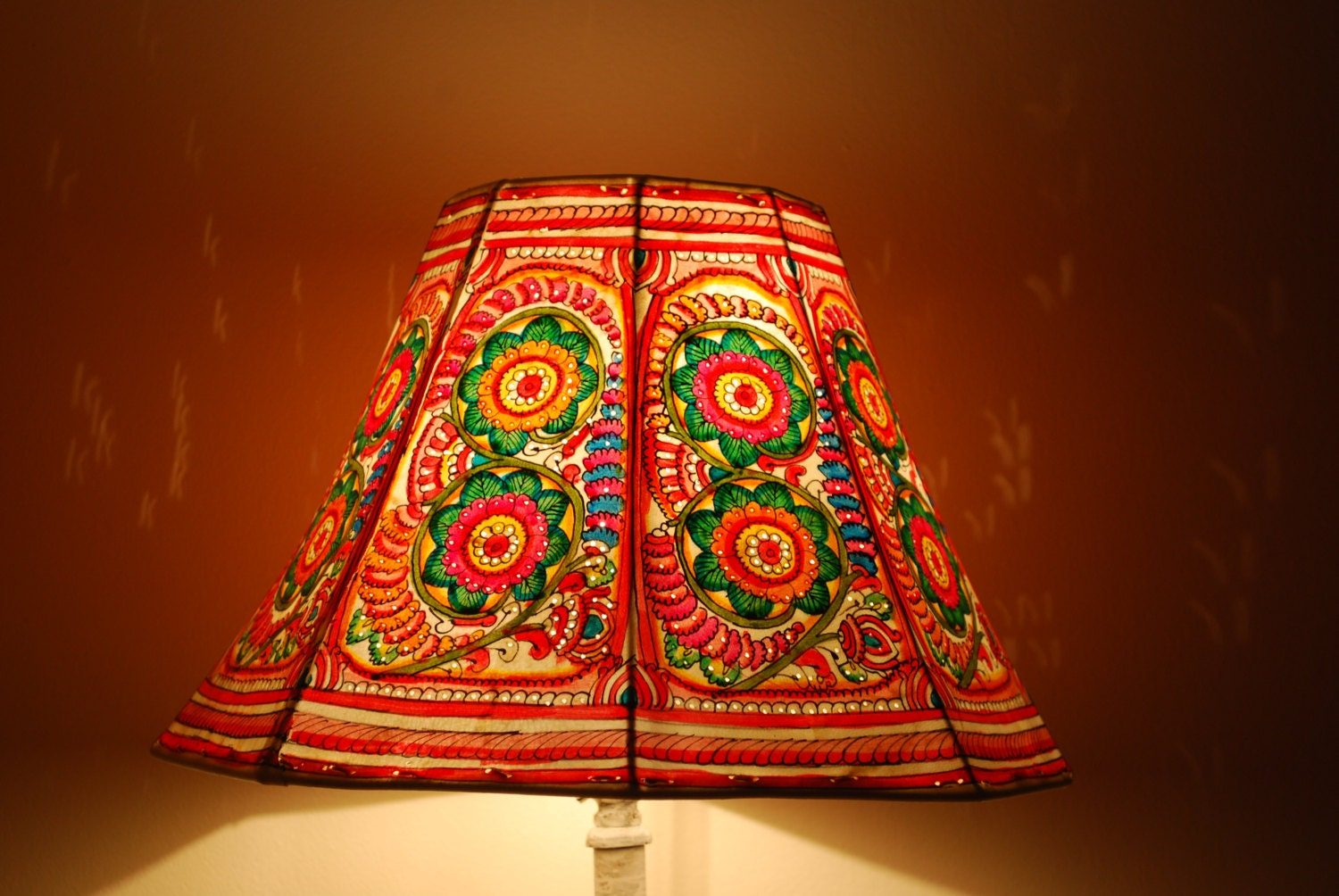 Floral Floor Lampshade Hand Painted Leather Lamp Shade