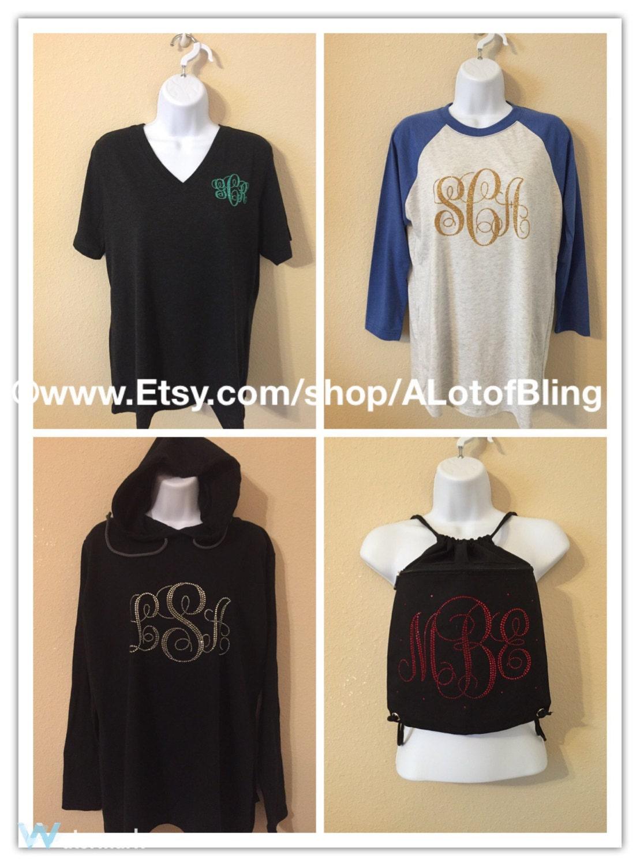 Glitter And Rhinestone Monogram T Shirt And Bags