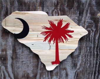 University of South Carolina USC  Wooden Flag Sign - Garnet and Red