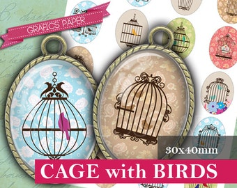 Cage with Birds Images Digital Collage Sheet 30x40mm ovals Printable Oval Image Sheets, Image Pendant, ovals craft, cabochon Oval  - OV004