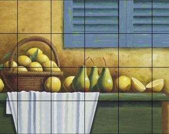 Ceramic Tile Mural- Lemons in a Basket