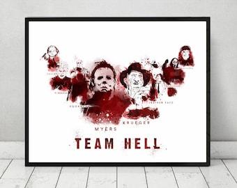 Team Hell NEW - Michael Myers, Freddy Krueger, Jason, Pinhead, Scream, Chucky, Jigsaw and Leatherface, Halloween, Friday the 13th, horror