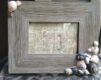 Seashell grey rustic picture frame