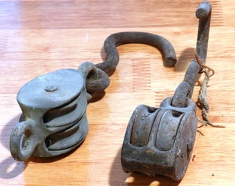 2 Vintage Metal Block and Tackle/Pulley with Hook Double Track  6 1/2 to 7 Inches Long             00730