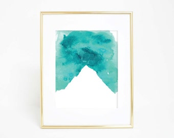 Mountain Art Print, Blue Mountain, Aqua Mountain, Watercolor Mountain, Watercolor Print, Aqua Print, Teal Print, Turquoise Nursery wall Art