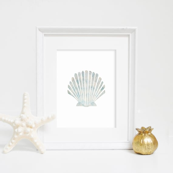 Beach Prints, Scallop Print, Wall Decor, Shell Print, Home Decor, Digital Print, Sea Shell Print, Scallop Wall Art, Download, Printable Art