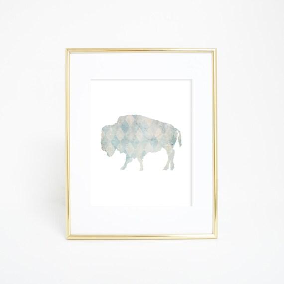Neutral Nursery, Nursery Animal Art, Buffalo Print, Bison Art Print, Buffalo Wall Art, Baby Shower Gift, Nursery Artwork, Office Decor