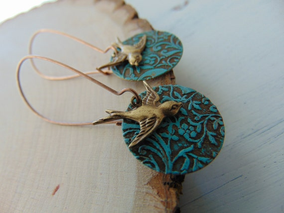 Brass Art Deco And Bird Long Earrings