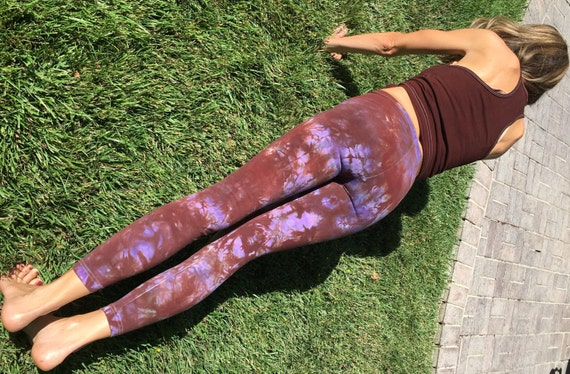 Tall Earth Brown Purple Tie Dye Yoga Leggings Including Extra Long and Plus Sizes by Splash Dye Activewear