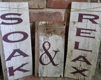Soak & Relax Reclaimed Barn Wood Bathroom Signs