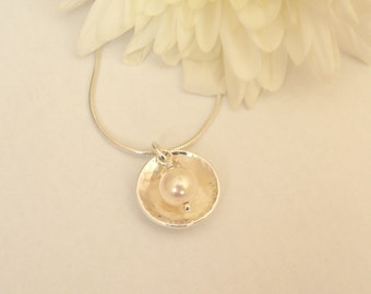 Freshwater pearl and hammered silver dome necklace