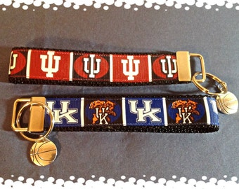1 Inch Wide Indiana or Kentucky  Grosgrain Pattern Key Fob with Charm