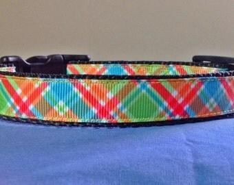 3/4 Inch Wide 8-12 Adjustable Cute Plaid Grosgrain Pattern Dog Collar
