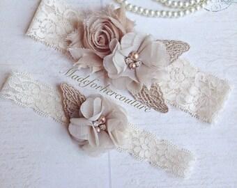 Tan Wedding Garter-vintage Lace Garter-Bridal Garter-tan Garter, beige bridal garter, rustic Garter-vintage wedding garter, Champagne Garter
