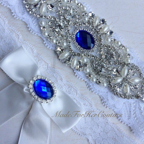 Royal Blue Wedding Garter White Lace Garter Belt Blue Garter