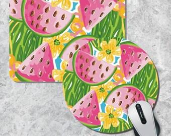 Preppy Watermelon Mousepad, Monogram Mouse Pad, Watercolor Mouse Mat, Preppy Mousepad, Round MousePad, Wooden Mousepad, Tracey Gurley Design