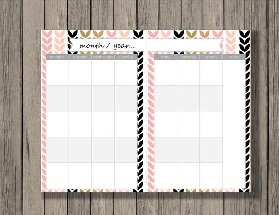 Blank Calendar Half Page : Monthly calendar printable a size across