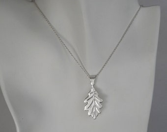 Sterling Silver Oak Leaf Necklace Oak Tree Leaf Pendant Nature Inspired Jewelry Made in Montana Gift for Men Gift for Women Plant Jewelry