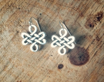 Tibetan Endless Knot earrigns. Infinity earrings. Silver plated earwire. Gift for her.