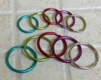 Package of 5 split rings, key rings, key chains