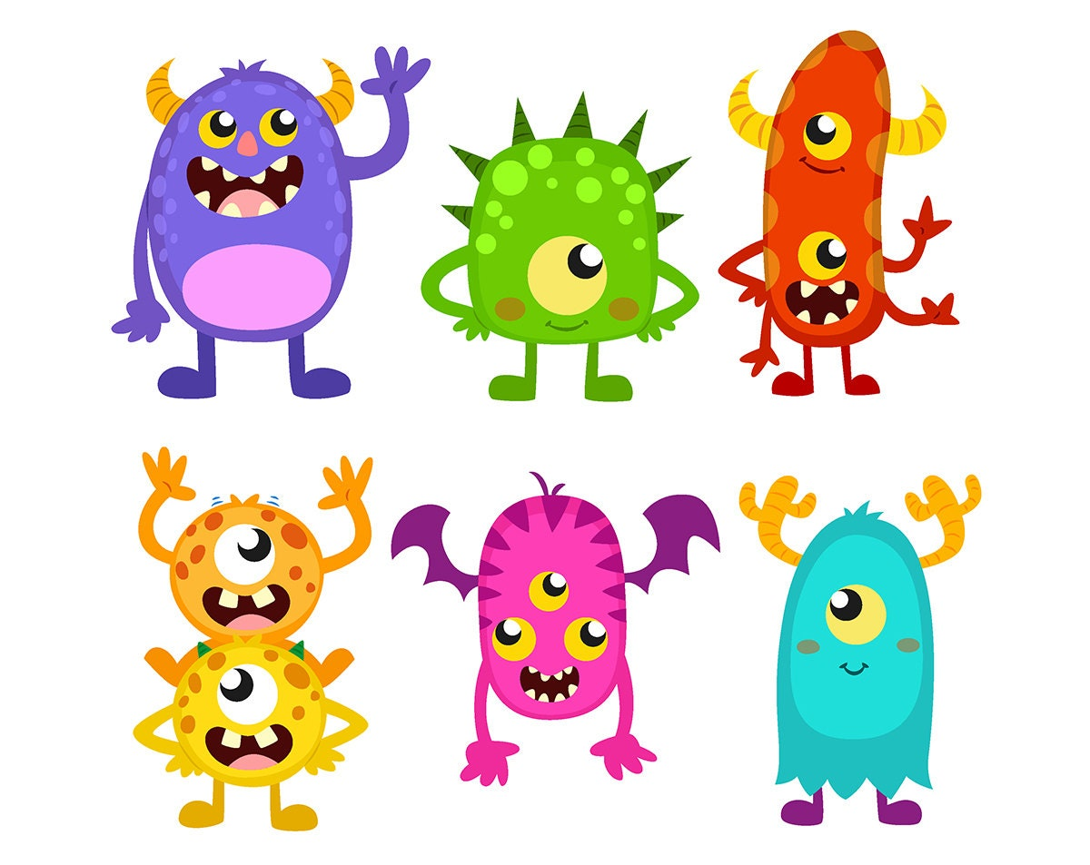 SALE! Monster CLIPART Cute Funny Monsters Cliparts Monster ...