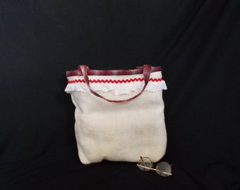 Burlap and flannel tote or gift bag; red, white and blue