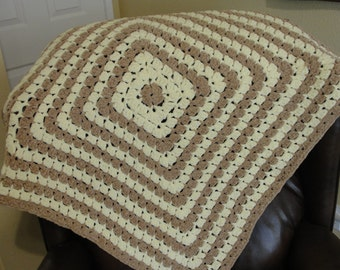 Handmade Crochet Very Soft Cozy Brown and Yellow Super Soft Baby Blanket for your baby boy. Size 30x30. Parfait yarn.