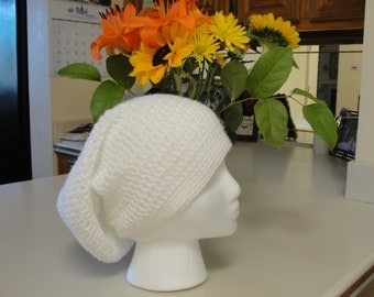 Handmade  Slouchy Crochet Hat in white for a woman.