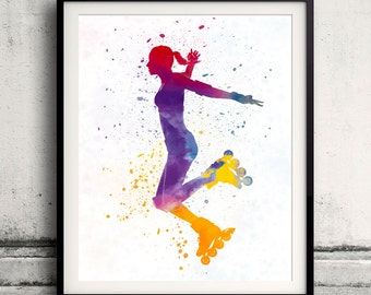 Woman roller skater inline 03 in watercolor - poster watercolor wall art splatter sport illustration print Glicée artistic - SKU 2051