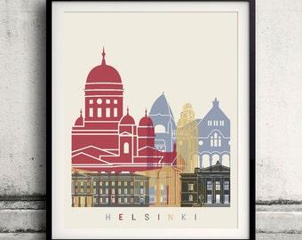 Helsinki skyline poster - Fine Art Print Landmarks skyline Poster Gift Illustration Artistic Colorful Landmarks - SKU 1476