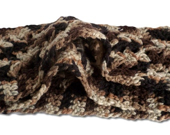 Variegated Browns Blacks Scarf / Warm Winter Scarf / Neckwrap / Crochet Scarf / Neck Scarf / Christmas Gift / Gift for her / Gift for Him