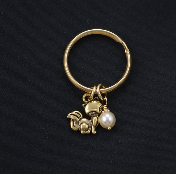 fox keychain Swarovski pearl choice gold fox charm keyring