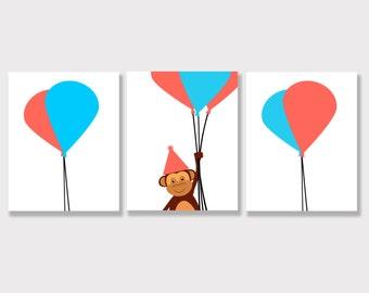 Set of 3 - Monkey Nursery Art - Monkeys - 3 8x10 Prints