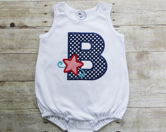 Personalized July 4th Bubble with Applique Letter - 4th of July Bubble - Summer Bubble - Nautical Bubble - Fourth of July Bubble