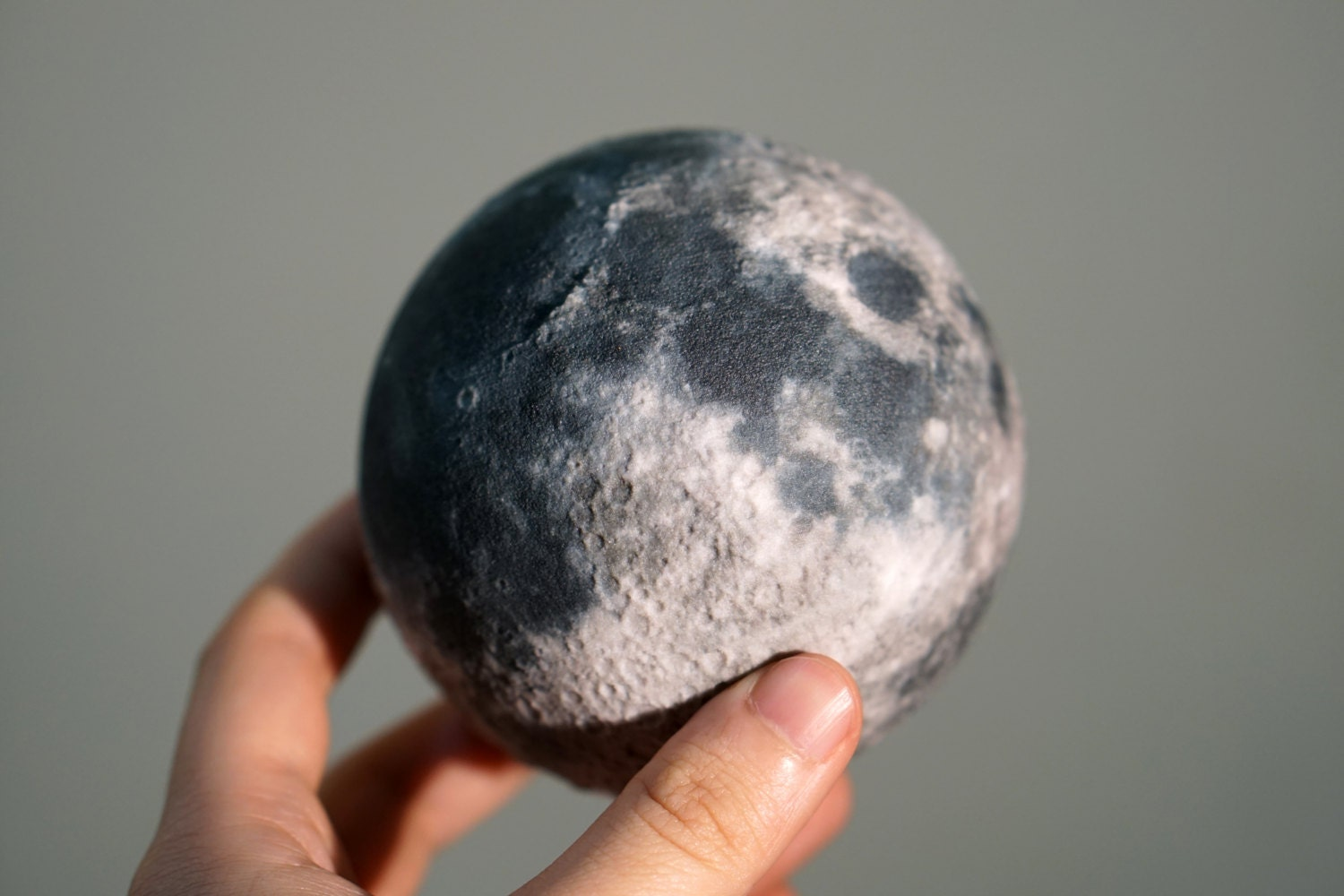 3d Printed Moon Globe With Surface Relief By