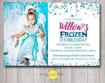 Frozen Printable Photo Birthday Invitation Personalised Any Age Blue Confetti Glitter