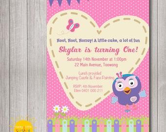 Custom Printable Girl Birthday Invitation Any Age Giggle and Hoot  Pink Polka Dots