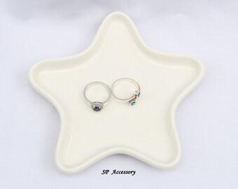 ceramic jewelry storage, ring dish, earrings dish, ceramic dish, ceramic star, star plate