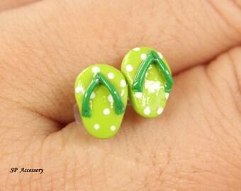 Miniature Slippers Earrings, green stud clay, red clay earrings, earrings clay, clay stud, fancy clay stud