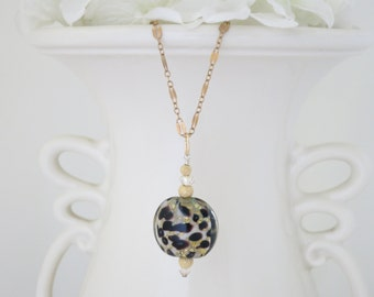 Black and Gold pendant necklace, Leopard print glass bead necklace
