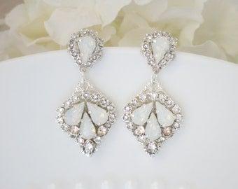 Wedding Earrings, Swarovski white opal bridal earring, Post drop wedding earring, Unique crystal teardrop earring