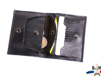 Wallet Card Case-door Monnaie- Leather Black Lizard Way
