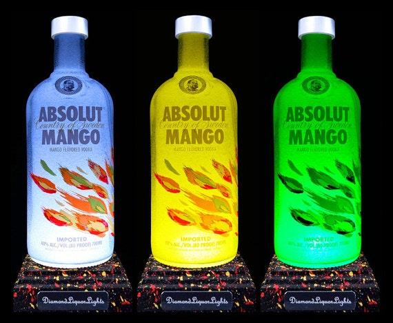 absolut mango vodka multicolour led bottle lamp bottle light. Black Bedroom Furniture Sets. Home Design Ideas