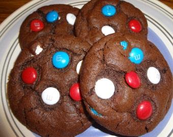 Chewy and Chocolaty Homemade Festive M&M Chocolate Cookies (2 Dozen)