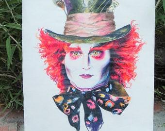 Original 18x24 Mad Hatter Drawing