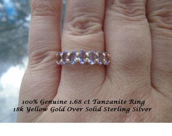 100% Genuine 1.68 ct Tanzanite Anniversary Ring